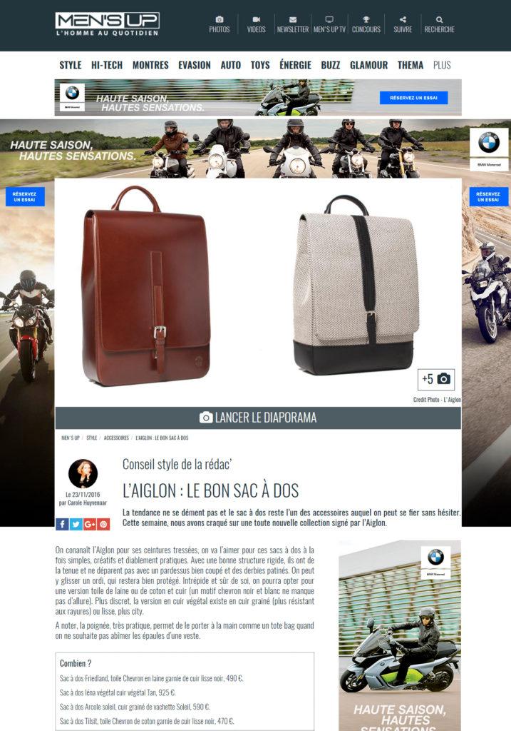 Pubblicazione Men's UP per L'Aiglon 750 000 audience Sac homme en cuir Maroquinerie Stillife Packshot Editorial